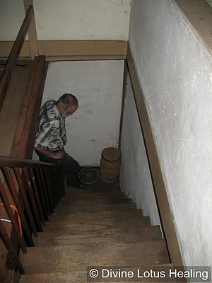 Orb in front of man on stairs-circled